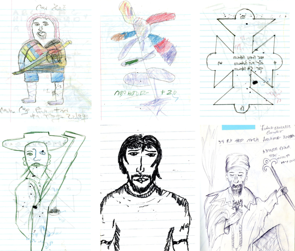 (About the photo)Field notes that Mr. Kawase used in his Ethiopia research, with doodles by local children.