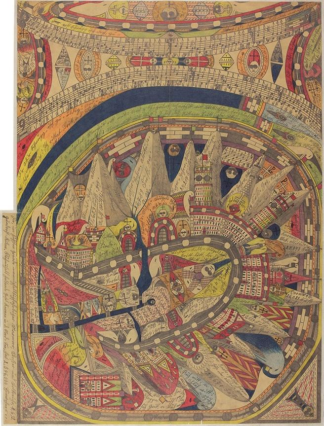 (写真について)アドルフ・ヴェルフリ《氷湖の=ハル〔響き〕.巨大=都市》、1911年 ©Adolf Wölfli Foundation, Museum of Fine Arts Bern