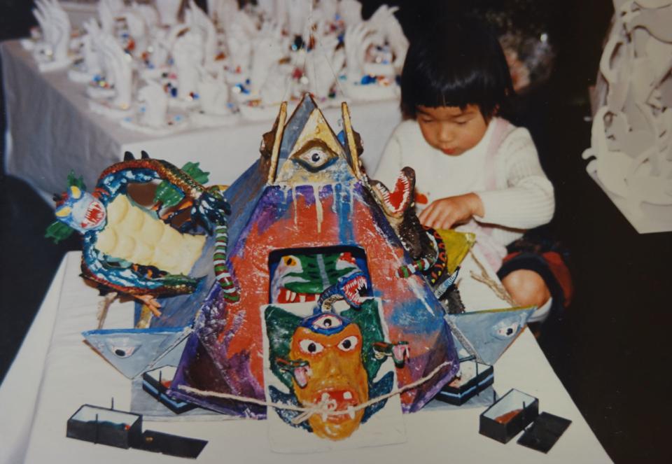 (写真について)デザイン教室は絵だけでなく、子どもたちが自由な造形を楽しむ場。