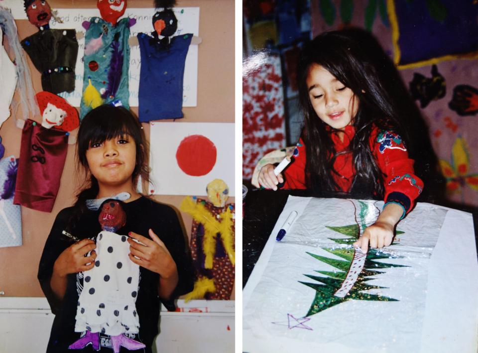 (写真について)タオスプエブロの『OO-OONA- CHILDREN ART SENTER』でのワークショップで指人形を作ったカレン/クリスマスツリーを描いているカーリー。