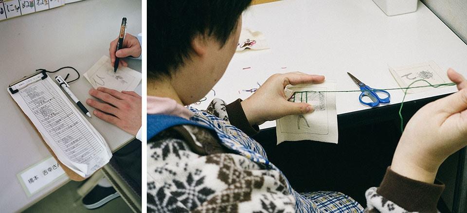 (写真について)To do listでやることを管理する橋本吉幸さんが下絵を描き、藤井真希子さんが刺繍を施す。