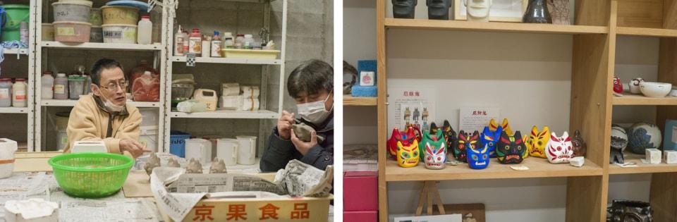 (写真について)陶芸ができるスタジオでは、〈HANA〉発ヒット商品「厄除鬼」が作られている。商品棚には「厄除鬼」の他にもメンバーのオリジナルイラストを転写させた食器や記念品などが並んでいた。