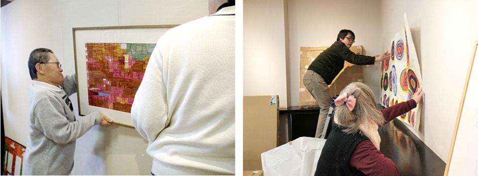 (写真について)展示プランの模型から実際の展示まで、初めての試みでキュレーションの全てを見事にやり遂げた季良さんと早苗さん。おつかれさまでした! ※設営風景は〈るんびにい美術館〉の撮影