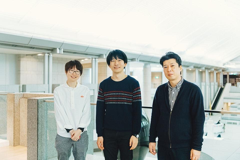 (写真について)写真左から、鄭晶晶さん、大石将弘さん、林建太さん。