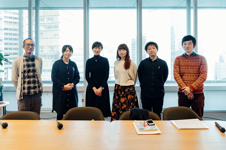 (写真について)左から、津口在五(鞆の津ミュージアム)さん、大政愛(はじまりの美術館)さん、奥山理子(みずのき美術館)さん、瀬尾夏美さん、細谷修平さん、須之内元洋さん。