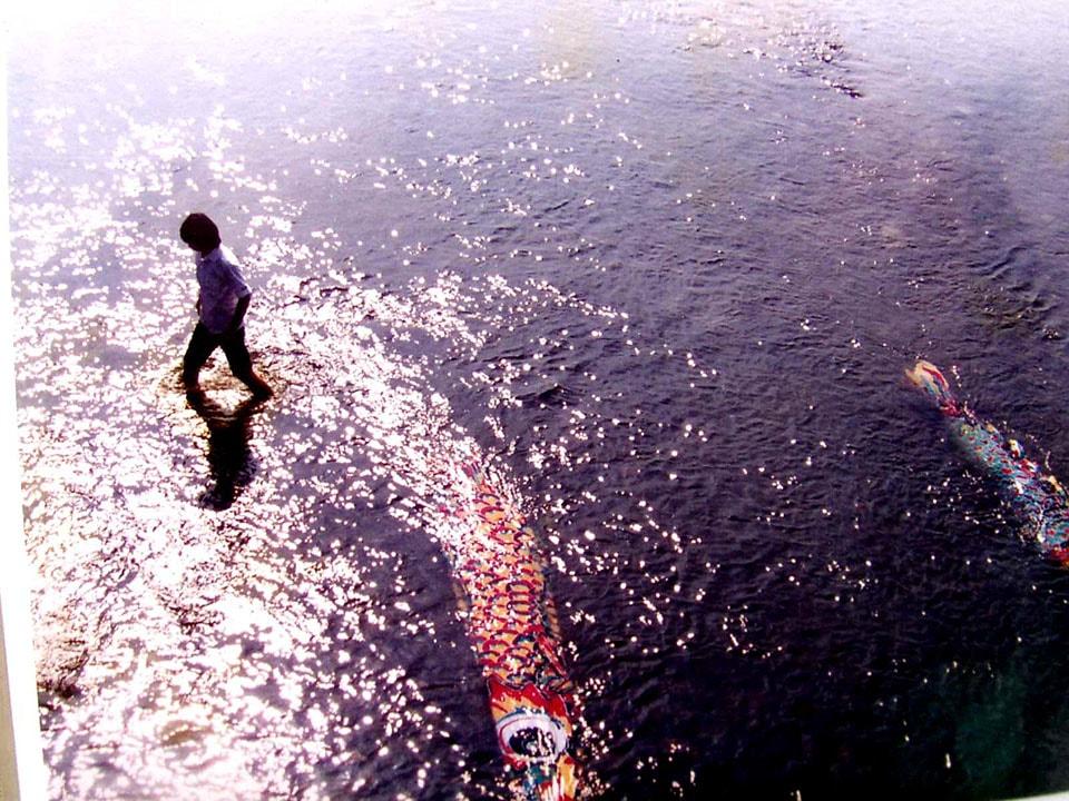(写真について)1983年、長さ5mの自作の染色作品(鯉のぼり)13点を京都市の三条大橋の付近の鴨川に設置した。