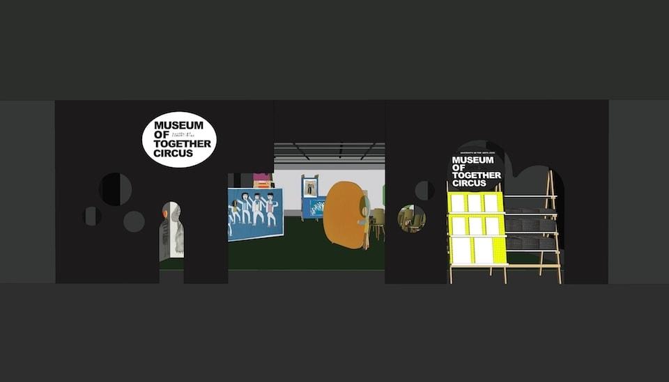 (写真について)会場デザインイメージ、作品を顔はめパネルとして展示