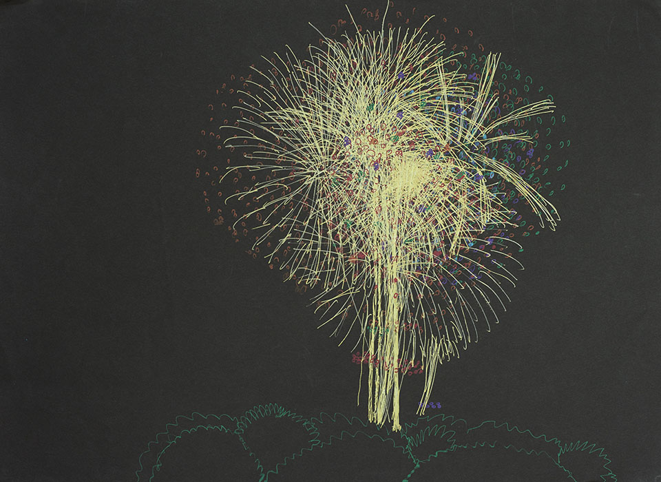 (写真について)花火とエレベーターを描き続ける志多伯逸さん。ほとんどは実在の風景でなく、自分の考えた架空の光景を描いている。