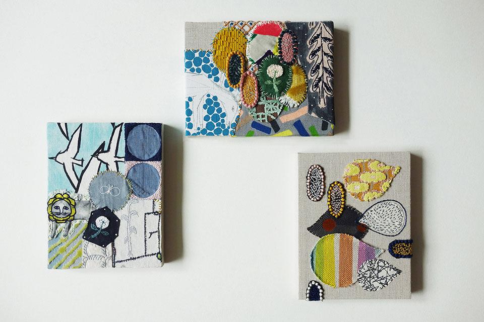 (写真について)「sing a sewing」の取り組み 2014年から始まったこの「sing a sewing」は、横浜市の福祉施設〈港南福祉ホーム〉の利用者のみなさんが「ミナ ペルホネン」の生地に思い思い自由に刺繍を施し、さまざまな作品を生み出すプロジェクト。写真は、2018年12月15日〜 25日の期間、東京の青山〈スパイラル〉の5階にある「ミナ ペルホネン」によるセレクトの店〈call〉にて、展示販売を行った作品。 Photo: minä perhonen