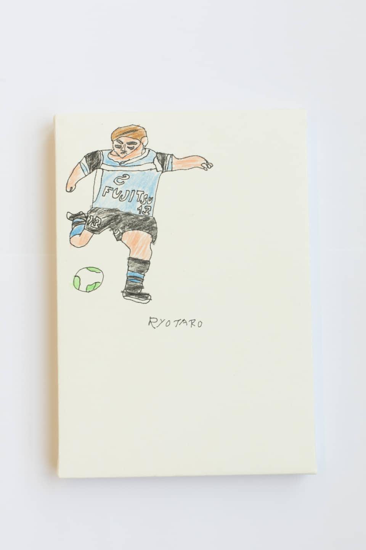 (写真について)「フロンターレの選手」シリーズより/160×230mm/顔料ペン・色鉛筆/制作年不詳