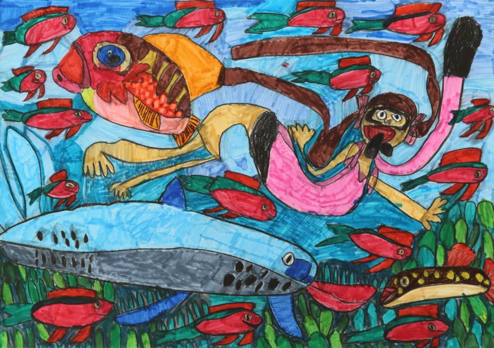 (写真について)「海の生き物」シリーズ/紙・水彩・ダーマトグラフ/540×375mm/2019年