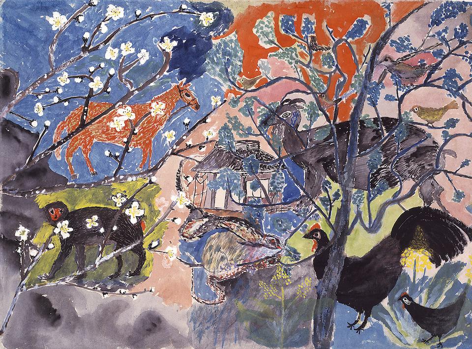 (写真について)丸木スマ《梅が咲く》 1952 年 原爆の図丸木美術館所蔵