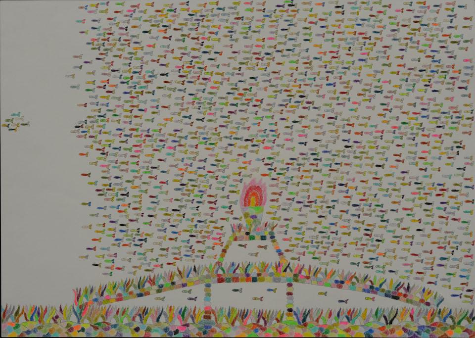 (写真について)「魚のオリンピック」/270×380mm/紙に鉛筆、色鉛筆/2008年/日本財団所蔵
