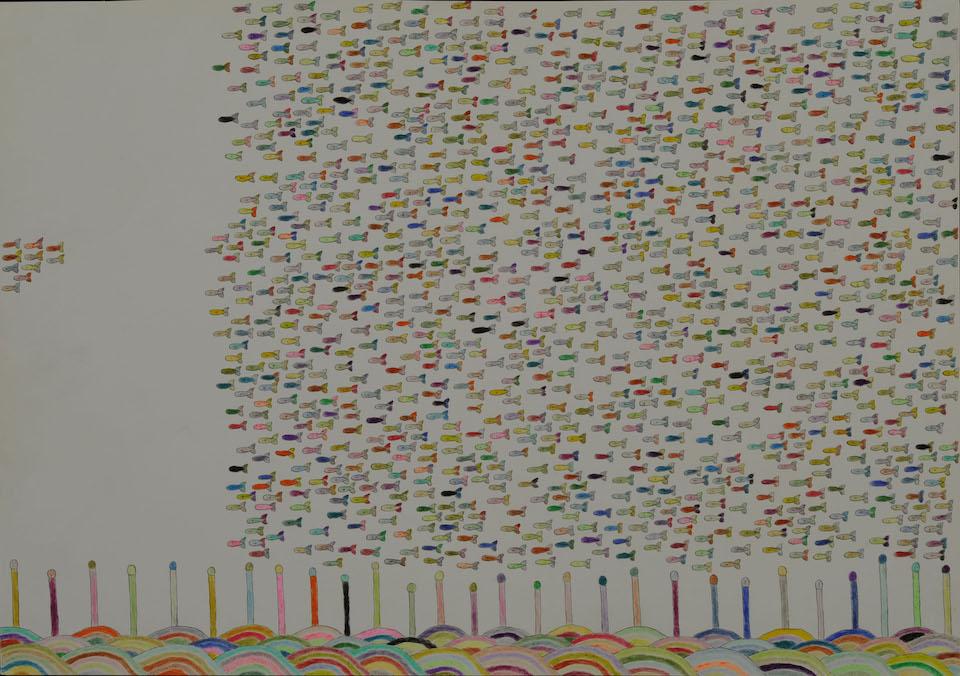 (写真について)「魚のオリンピック」/257×366mm/紙に鉛筆、色鉛筆/2008年/日本財団所蔵