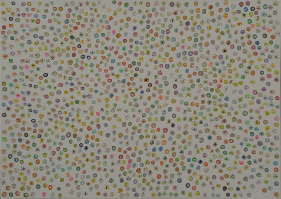 (写真について)「くらげの大群」/270×380mm/紙に鉛筆、色鉛筆/2008年/日本財団所蔵