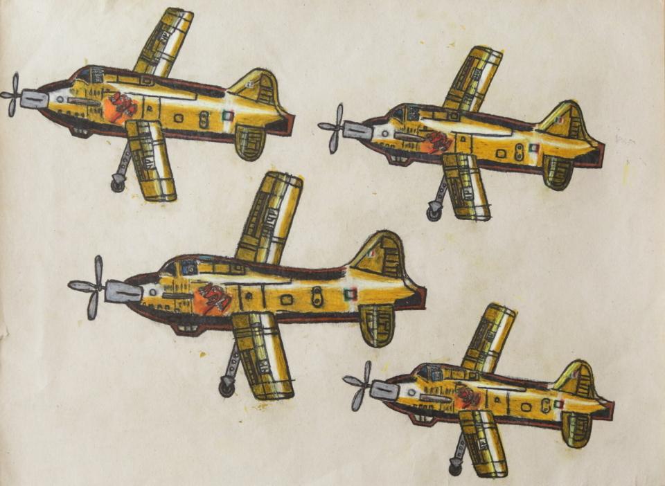 (写真について)「飛行機」シリーズ/紙・グリースペンシル/835×440mm/2017年