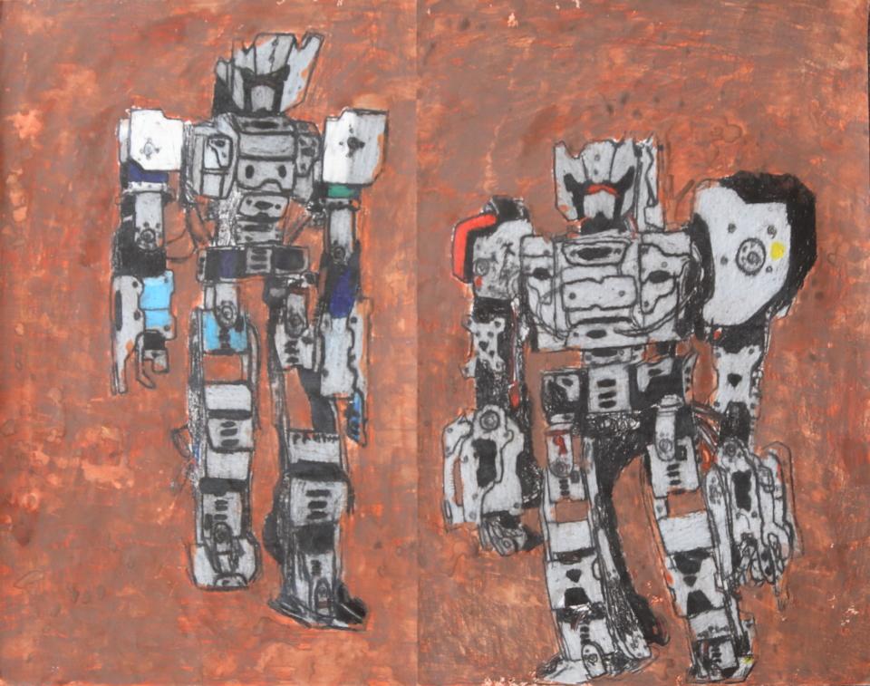 (写真について)「ロボット」シリーズ/紙・グリースペンシル/600×520mm/2016年