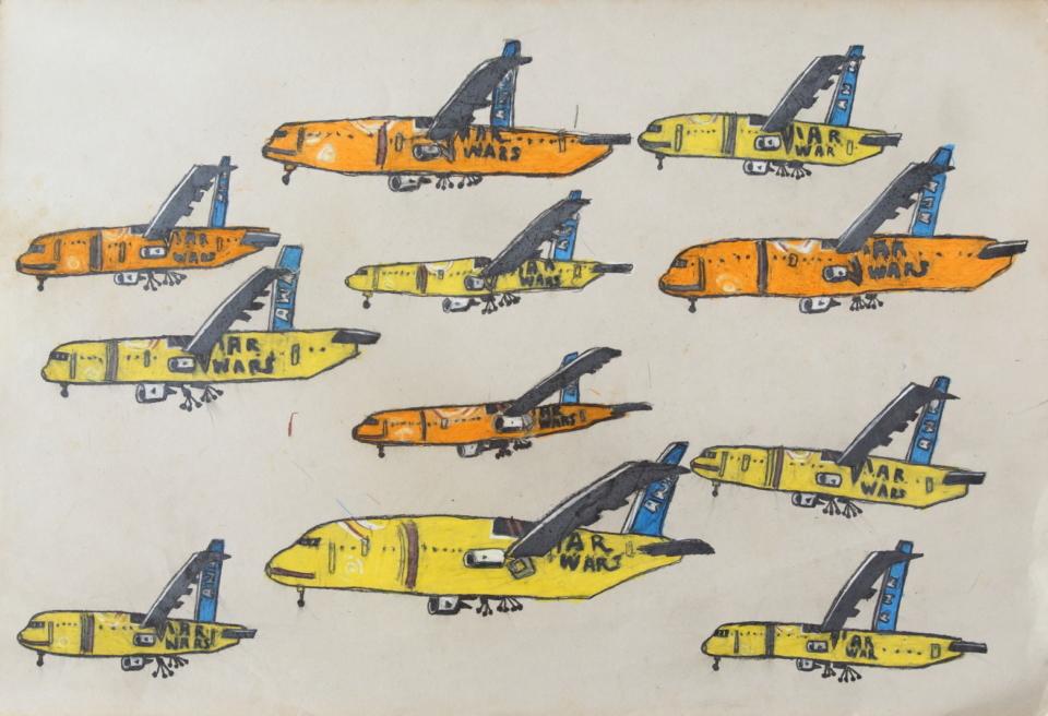 (写真について)「飛行機」シリーズ/紙・グリースペンシル/960×650mm/2018年