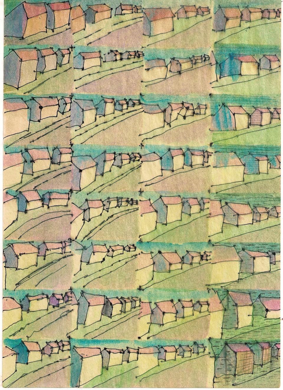 (写真について)《Night and Day Watch/black, blue, red and violet》2014 インク、水彩、再生紙、アニメーション ループ、シングルチャンネル・ヴィデオ、サウンド Courtesy of the artist and TAKE NINAGAWA