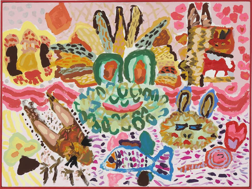 (写真について)《かえるのともだち》1998 アクリル、キャンバス たんぽぽの家アートセンターHANA所蔵 撮影:木奥恵三