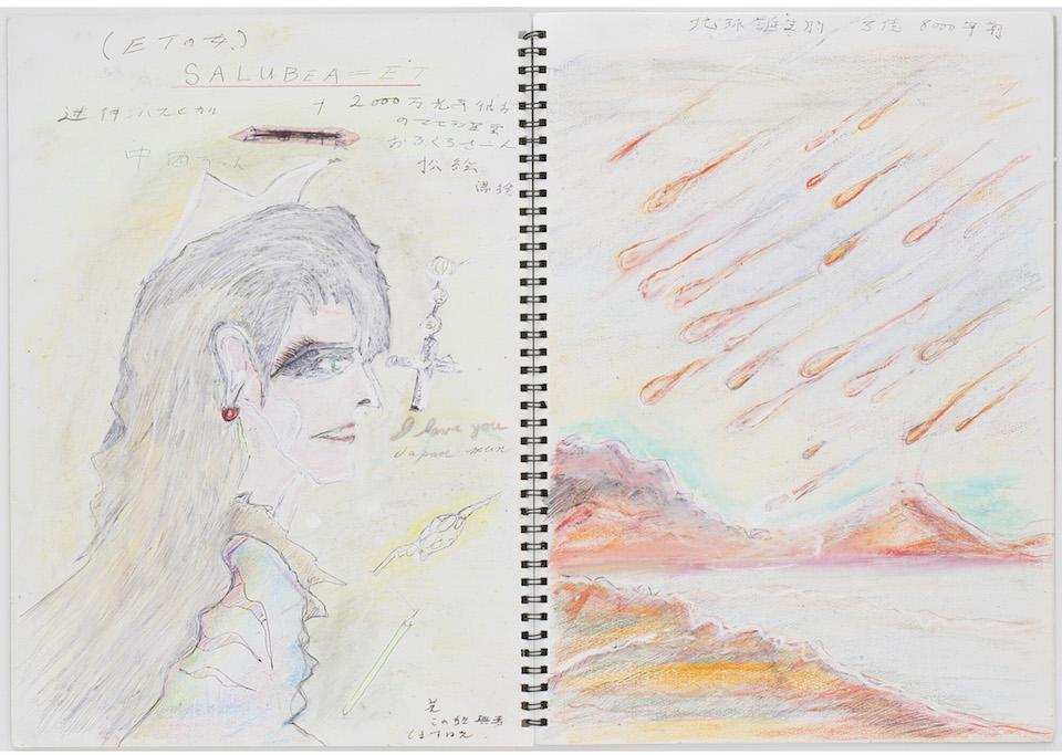 (写真について)《遠い国からの愛》2004 鉛筆、色鉛筆、クレヨン、ボールペン、修正液、紙、スケッチブック 日本財団所蔵 撮影:木奥恵三