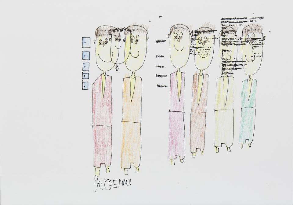 (写真について)《光GENNJI》2014 ペン、色鉛筆、紙 studio COOCA所蔵 撮影:木奥恵三