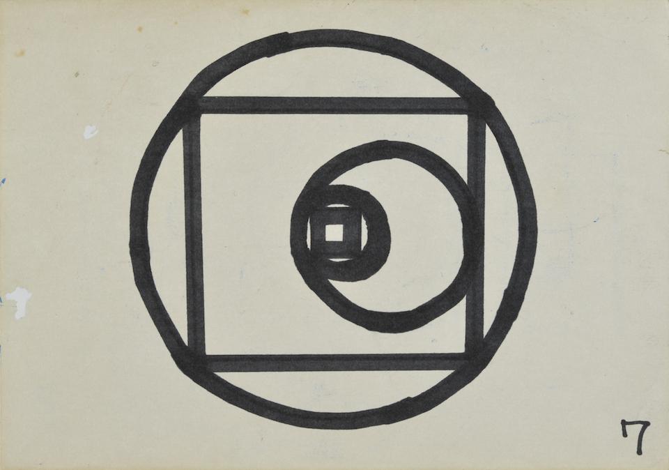 (写真について)《タイトルなし(造形テスト課題7見本)》1980 油性ペン、画用紙