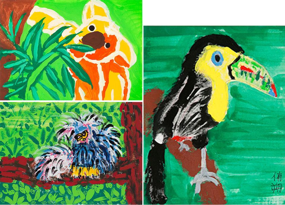 (写真について)左上から時計まわりに「コアラ」/アクリル絵具・紙+ハレパネ/323×235mm/2015年、「サイチョウ」/アクリル絵具・綿布+木製パネル/190×275mm/2013年、「フサオマキザルのマダム」/アクリル絵具・紙+木製パネル/323×235mm/2913年