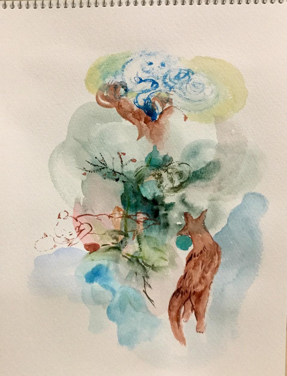 (写真について)《一枚さん》2019 紙にインク、水彩絵の具、パステル、色鉛筆等 Courtesy of the artist and MEM