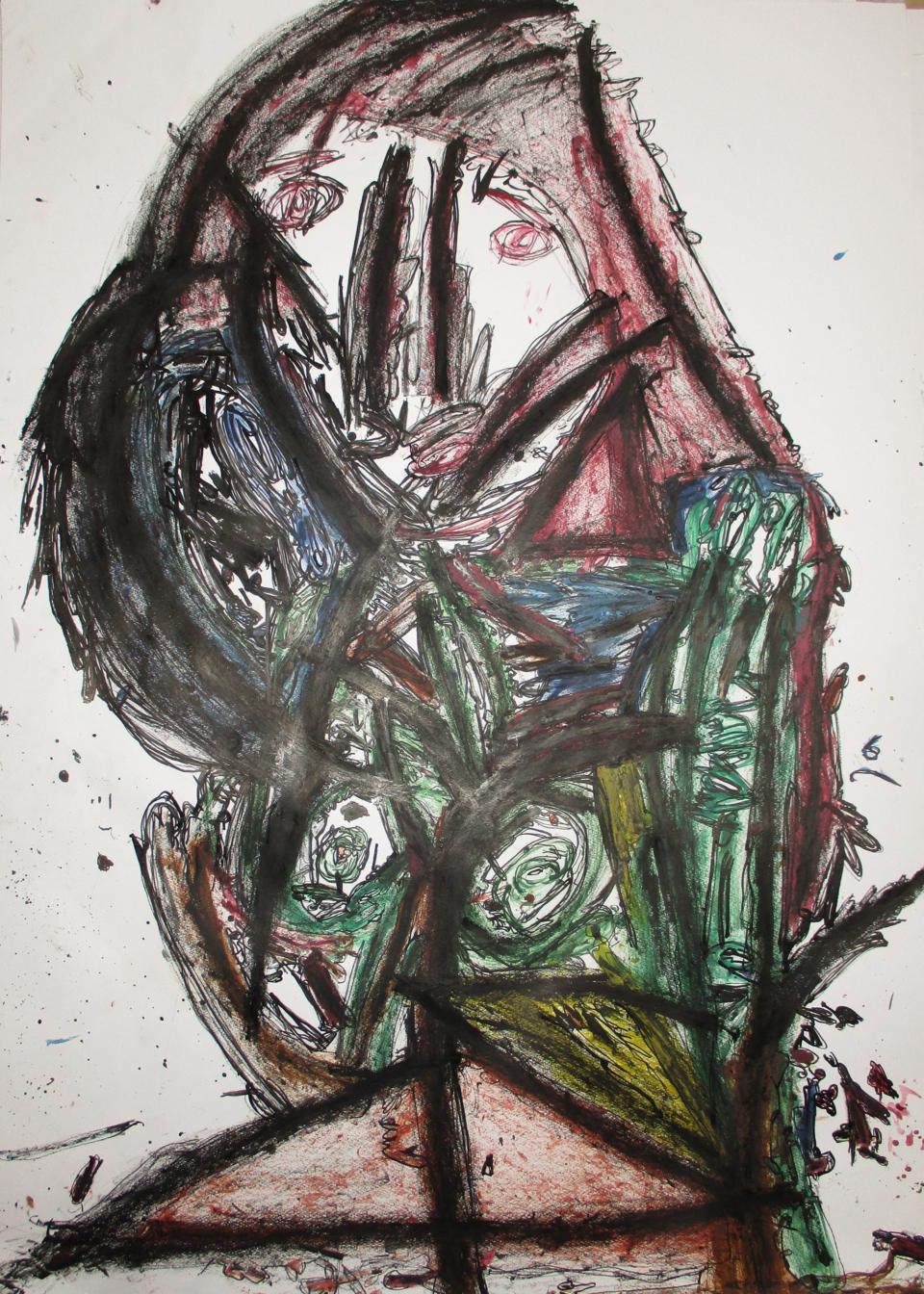 (写真について)《女の人》2015 絵の具、墨汁、紙 Courtesy of the artist and ATELIER YAMANAMI