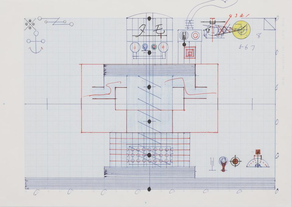(写真について)「モーター」/181×256mm/グラフ用紙にボールペン、鉛筆、色鉛筆、水性マーカー、コンパス/不詳/日本財団所蔵