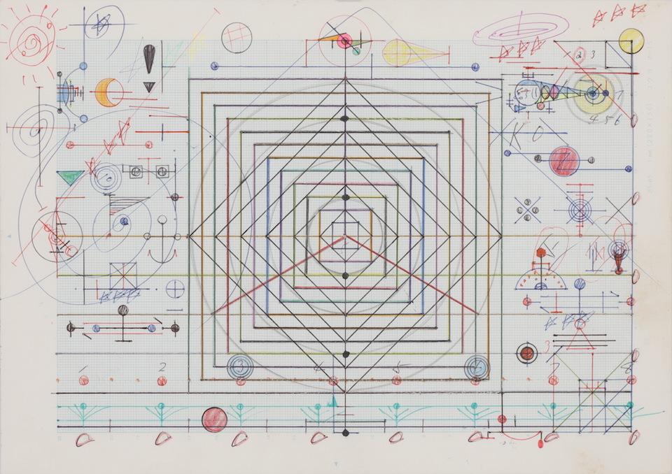 (写真について)「枠組み」/181×256mm/グラフ用紙にボールペン、鉛筆、色鉛筆、水性マーカー、水性ペン、コンパス/不詳/日本財団所蔵