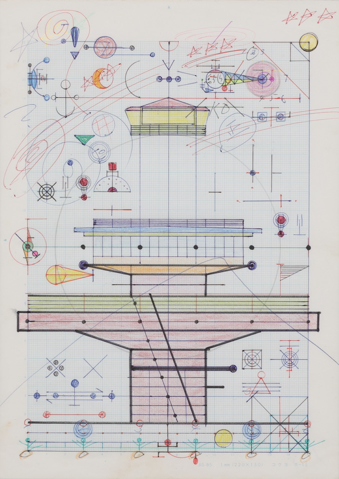 (写真について)「ネオン」/256×181mm/グラフ用紙にボールペン、鉛筆、色鉛筆、水性マーカー、水性ペン、コンパス/不詳/日本財団所蔵