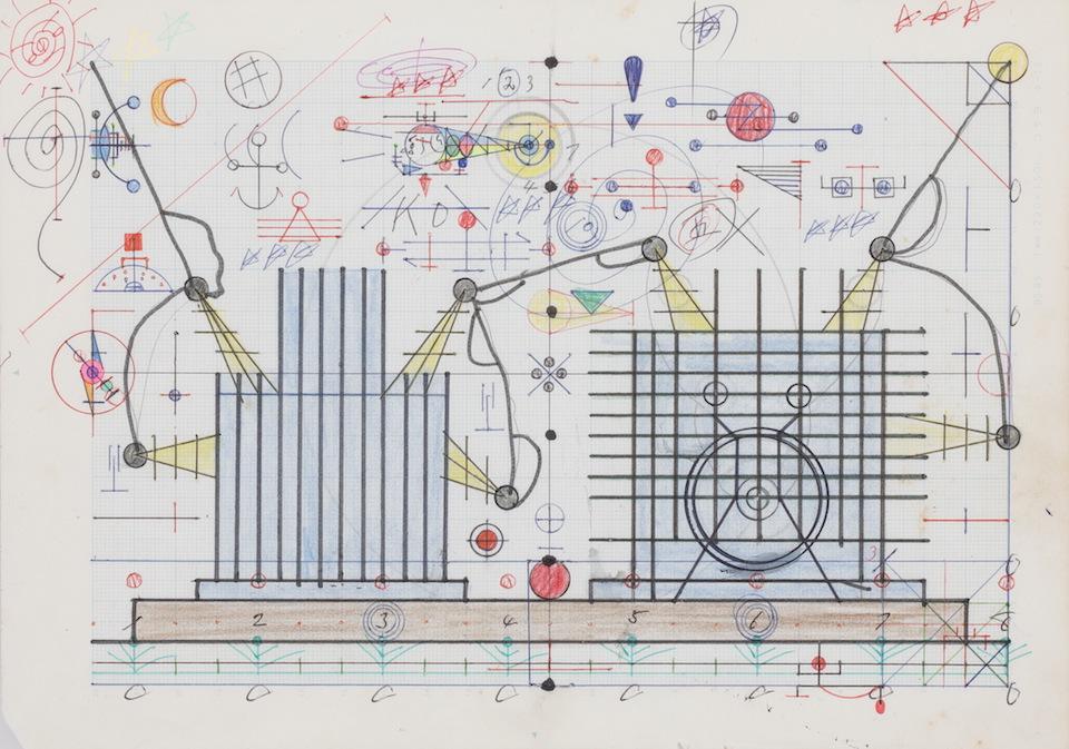 (写真について)「電源」/181×256mm/グラフ用紙にボールペン、鉛筆、色鉛筆、水性マーカー、水性ペン、コンパス/不詳/日本財団所蔵