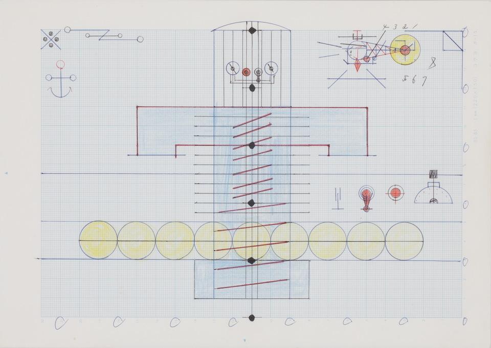 (写真について)「機械」/181×256mm/グラフ用紙にボールペン、色鉛筆、水性マーカー、コンパス/不詳/日本財団所蔵