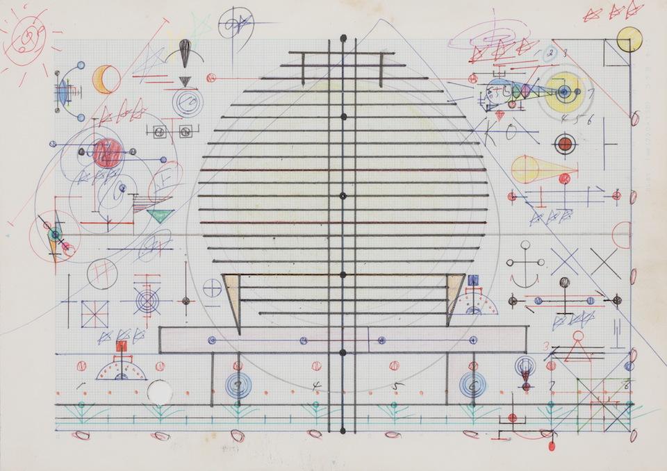 (写真について)「モーター」/181×256mm/グラフ用紙にボールペン、鉛筆、色鉛筆、水性マーカー、水性ペン、コンパス/不詳/日本財団所蔵