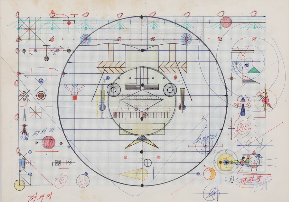 (写真について)「無題」/256×181mm/グラフ用紙にボールペン、鉛筆、色鉛筆、水性マーカー、水性ペン、コンパス/不詳/日本財団所蔵