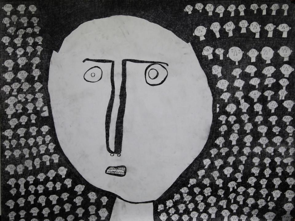 (写真について)女の人/紙・鉛筆/2000×1520mm/2013年 写真提供:やまなみ工房