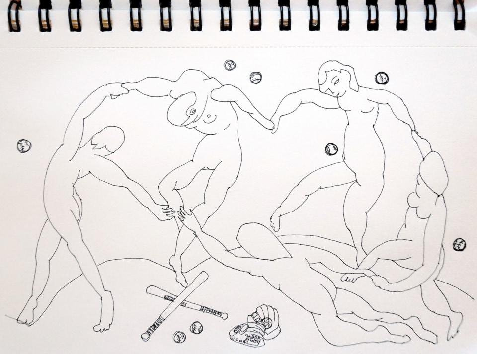 手をつないで踊る裸の人間。ところどころに野球のバットとボール。ヴィヴィアン佐藤によるマチスの絵画をイメージした鉛筆画